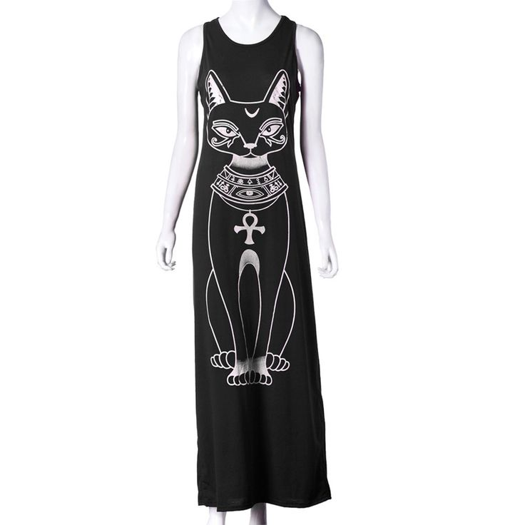 New Sphinx Cat Dress - Egyptian Boho Maxi Long Dress Amazing Black Cat Dress Amazing Grey Cat Dress Cat lovers will love this Free Shipping Sleeveless bohemian style Please use the sizing chart to pic