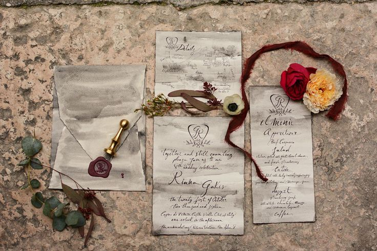 Intimate, hand written stationery suite on a smokey deckled edged paper