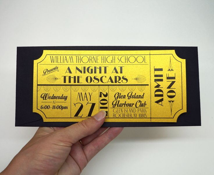 This unique invitation is made to look like a vintage old hollywood movie ticket or theatre ticket with an art deco theme. Printed on a very thick 110lb metallic gold cover stock and with a tear-away ticket stub, this invitation is bound to leave your prom guests stunned and thrilled for an amazing celebration.  This prom invitation set comes with: - 8 x 3.66 Prom Invitation - #10 Black Linen Policy Envelope  This invitation is a high quality print on super thick 110lb metallic gold cover…