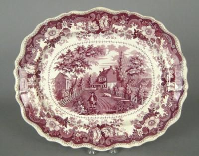 "Purple Staffordshire platter, 19th c., depicting the Residence of the late Richard Jordan, New Jersey, 14 3/4"" l., 17 3/4"""