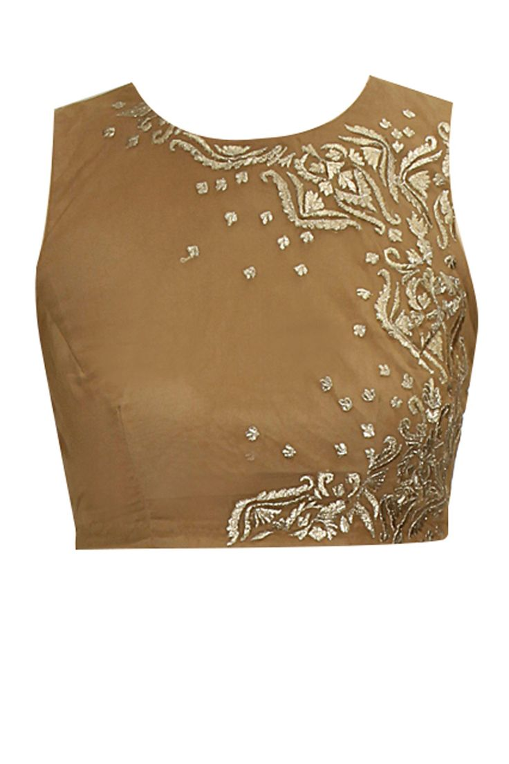 Dull gold embroidered crop top by Astha Narang. Shop now: http://www.perniaspopupshop.com/designers/astha-narang #croptop #asthanarang #shopnow #perniaspopupshop