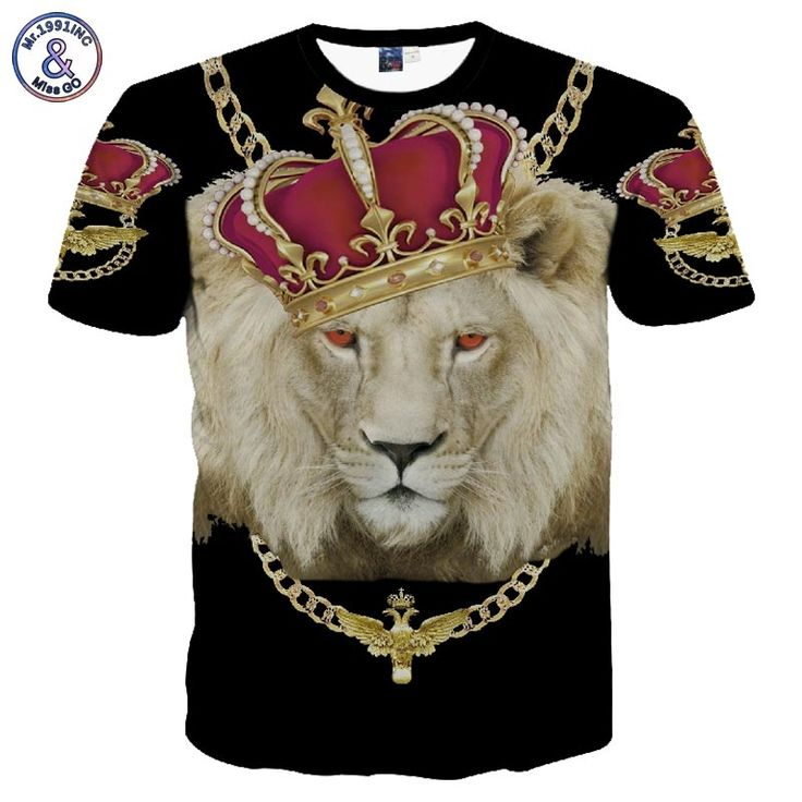 Top Brand New Fashion Men's/Women's Gold Chain Crown Lion 3D Print Casual T-Shirt Summer T shirt Brand Clothing Tees