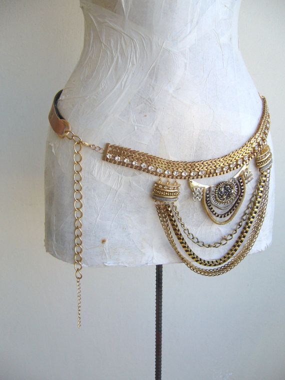 Chain belt gold/Metal belt gold tone / vintage belt upcycled/ethnic belt