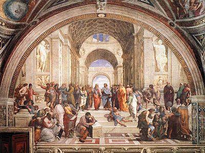 """EDUCAÇÃO HUMANISTA    Pintura """"A Escola de Atenas"""", 1509, de Rafael Sanzio, mestre da pintura e da arquitetura da escola de Florença no Renascimento italiano   Com esta obra introduz-se a educação humanista, os teóricos da educação humanista mais destacados e os fatos que a configuram"""