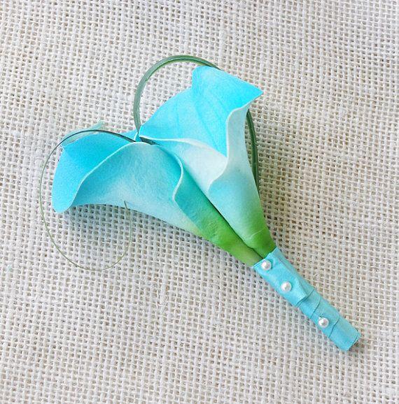 Tiffany Aruba Silk Calla Lily Wedding Boutonniere by Wedideas