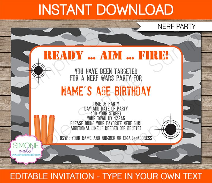 Nerf Party Invitations Template gray camo