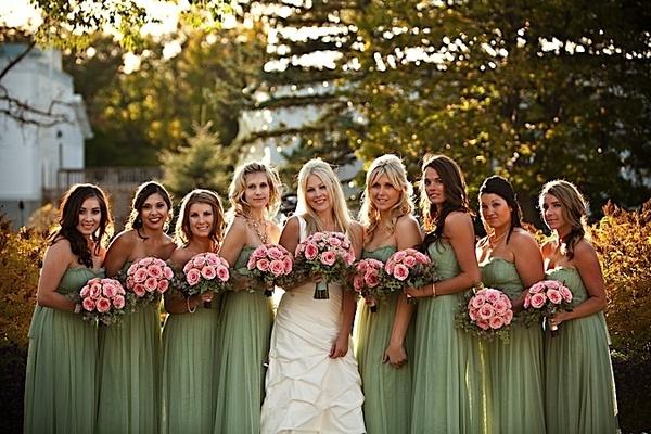 Sage green bridesmaids dresses from Vera Wang. Bohemian-chic perfection.