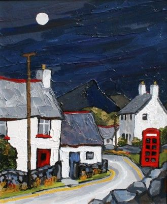British Artist David BARNES-Road through Roewen