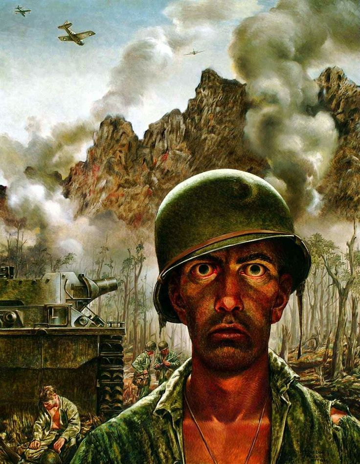 "The Battle of Peleliu Originated the term ""Thousand yard stare."" It is the gaze of a soldier who has experience battle fatigue. Tom Lea was a war correspondent and painter who covered this Pacific World War II battle."