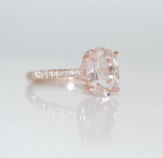 Blake Lively ring White Sapphire Engagement Ring oval cut 14k rose gold diamond ring 2.26ct White sapphire ring