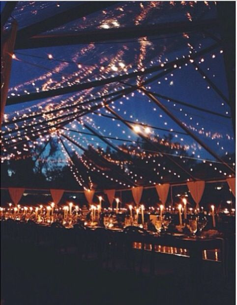 Clear wedding tent  Love the candles and starry lights