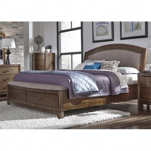 Liberty Furniture Avalon III Queen Storage Bed in Pebble Brown