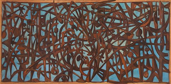 Study for the gate to the Fosse Ardeatine (Bozzetto cancello delle Fosse Ardeatine). Mirko Basaldella, 1949. Tempera on lined paper, 150 x 300 cm