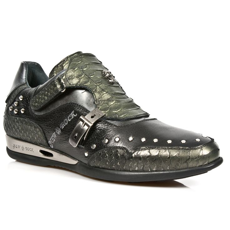 Quality Alligator Green & Black Leather Dress Sneakers from New Rock Shoes. One velcro buckle, one metal buckle to adjust for comfort and fit. Metal on the heels. Small metal skull and studs on top of shoe. Available in all Unisex Sizes. NOW ONLY $199.99 w Shipping included!  http://www.newrockbootsusa.com/Black-Alligator-Green-Leather-Hybrid-Shoes_p_2445.html