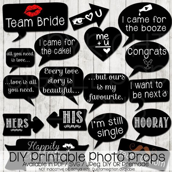 Wedding Photo Booth Props Diy Printable Instant Chalkboard Party Signs Svg Pdf Cut