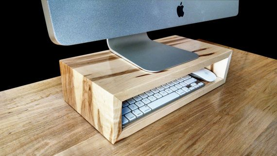 Ambrosia maple monitor stand | Desk organizer | Computer riser | Desktop storage cubby | Laptop dock | TV riser