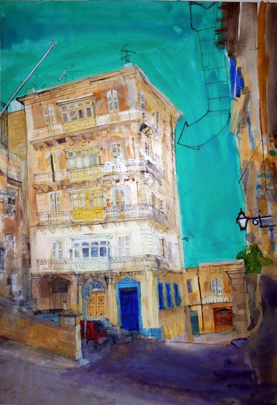 Valletta, South Street. [House of the Four Winds] Watercolour on paper, 2011.
