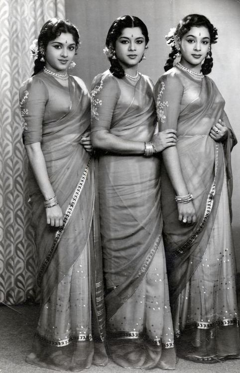 vintagesareeblouse:  The Travancore Sisters were a famous dancing trio and one of them, Padmini, was a major star in South Indian cinema and also acted in Hindi films.