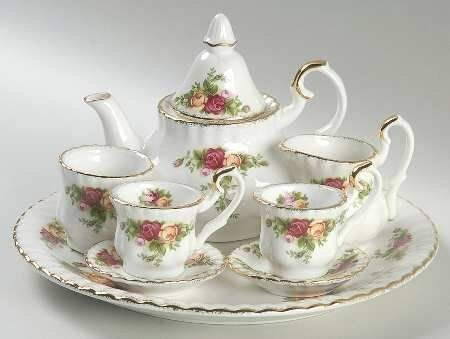 Royal Albert Old Country Roses (9 Pc In Box) Miniature Tea Set, Fine China Dinnerware - http://teacoffeestore.com/royal-albert-old-country-roses-9-pc-in-box-miniature-tea-set-fine-china-dinnerware/