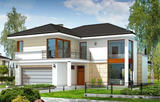 Projekt Riwiera to oryginalny dom piętrowy dla cztero-sześcioosobowej rodziny. Budynek zaprojektowano jako jednopiętrową bryłę w kształcie litery T, przekrytą łagodnym wielospadowym dachem. Dom swoim stylem stara się nawiązać do charakteru miejskich willi, łącząc w sobie elementy modernistycznej architektury ze współczesnymi detalami i materiałami. W wyniku takiego połączenia udało uzyskano elegancką, dopracowaną formę.