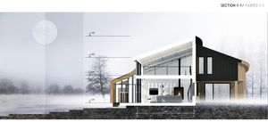 NEAR THE FOREST by SA lab. Private house in St-Petersburg, Russia  salab.org   #SAlab #parametric #architecture #private #house #building #modern #villa #panoramic #view #concept #render #grasshopper #visualization #winterrender #section