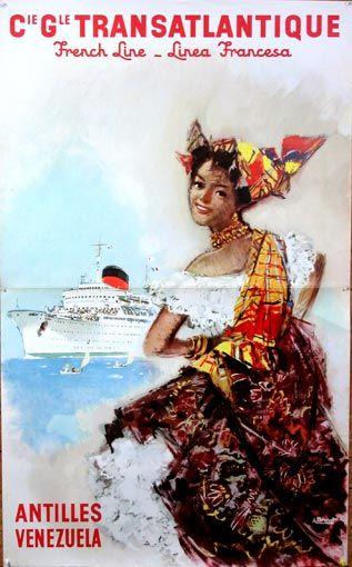 Cie Gle Transatlantique   French Line _ Linea Francesa  Antilles Venezuela