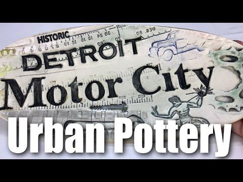 Detroit Motor City Urban Art Ceramic Dish by Merging Story Pottery Review https://youtu.be/j5kqnJTdCUE