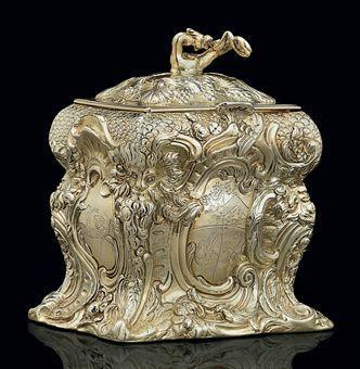 Regency silver-gilt tea caddy.