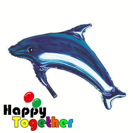 Caliente Saelling enorme tamaño Dark Blue Dolphin globos de papel de aluminio decoración océano partido como regalos de los niños(China (Mainland))