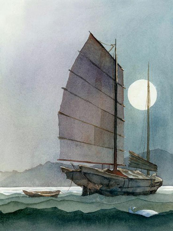 16 Best Chinese Junk Boat Paintings Images On Pinterest
