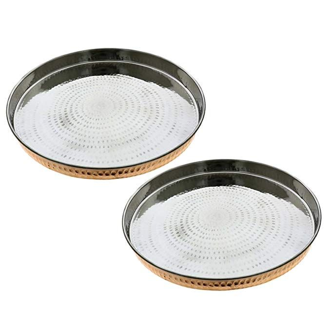Skavij 12 Inch Round Charger Plates Set Of 2 Dinnerware Service Plate Dinner Chargers Heavy Copper And Stainless Steel R Plates Charger Plates Dinner Plates