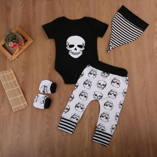 03183a8d7 4PCS Infant Baby Boy Girl Skull Clothes Short Sleeve Romper Long ...