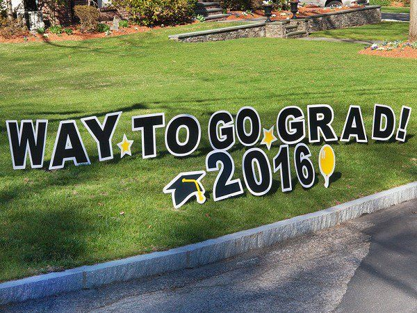 My Yard Card's Graduation Lawn Sign, discovered by The Grommet, is like a jumbo greeting card on your lawn. The perfect way to make a grand statement.