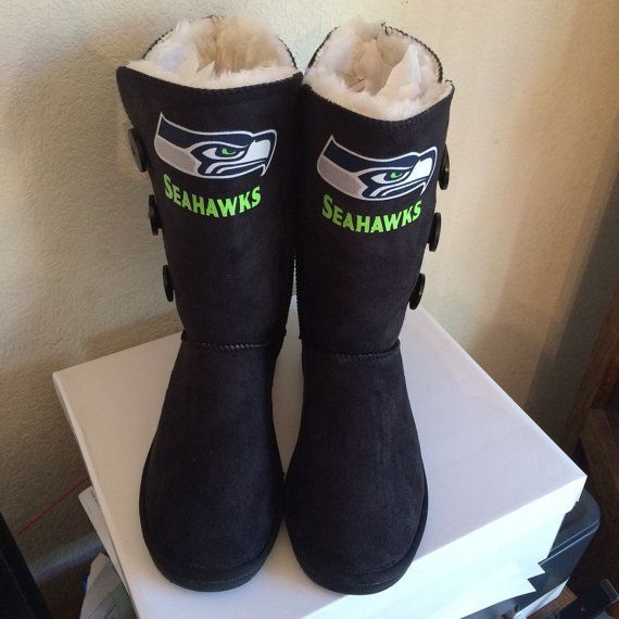 Seahawks boots womens boots with buttons on side fur inside boots bottom of shoes are very sturdy so you wont slip in this cold weather keep warm  $69 etsy