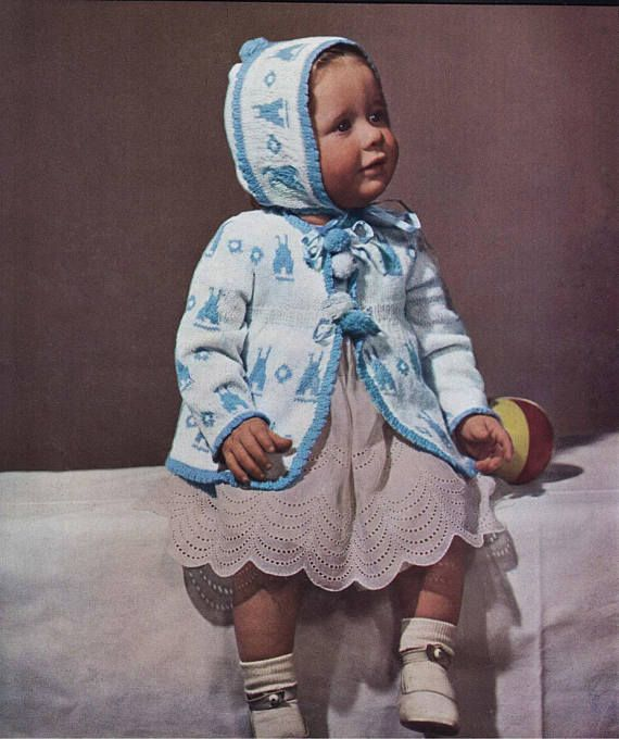 Bunny Baby Cardigan and Bonnet set by GoldenEagel 879