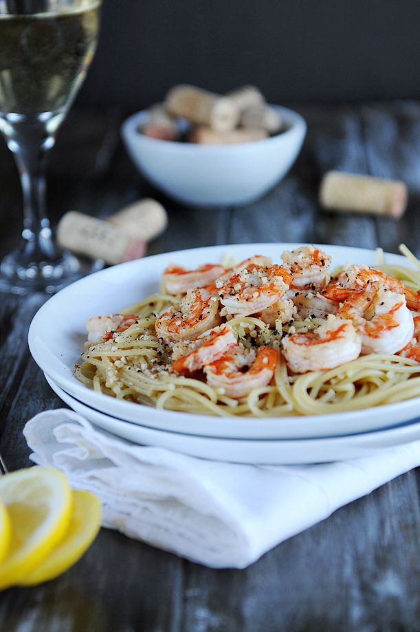 "This is our ""fast food""... a quick and easy dinner of Lemon Pepper Shrimp Over Pasta"