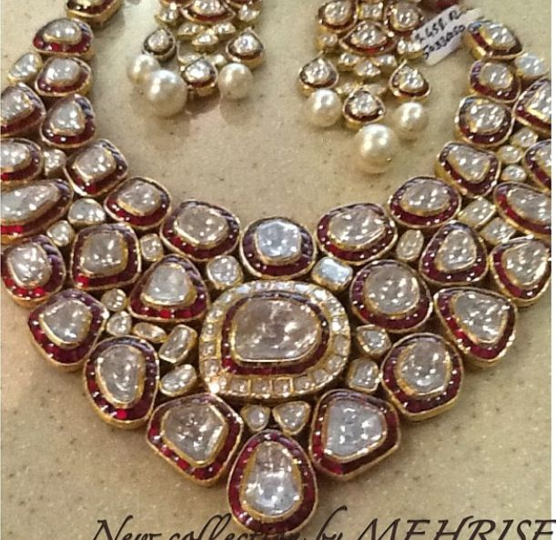 Polki set with rubies #uncut diamonds #indian jewellery