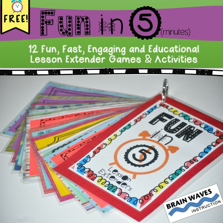 FREE! FREE! FREE! Sometimes, despite your best efforts, a lesson ends a little bit early leaving the opportunity for unstructured classroom chaos. That's where these 12 Fun in 5 (minutes) activity cards come in handy. Each game and activity is fast, simple, educational, and engaging. They tap into language arts, math, and critical thinking skills to both challenge and engage students in short bursts of time. The Fun in 5 cards are designed to be cut into individual cards.