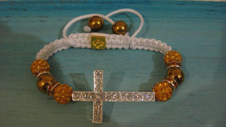 WhiteGold and diamante crucifix bracelet, jewellery,Christmas present,bridesmaid gift,thankyou,steampunk,bridal,bride,evening wear,jewellery by LovenLightFabrics on Etsy