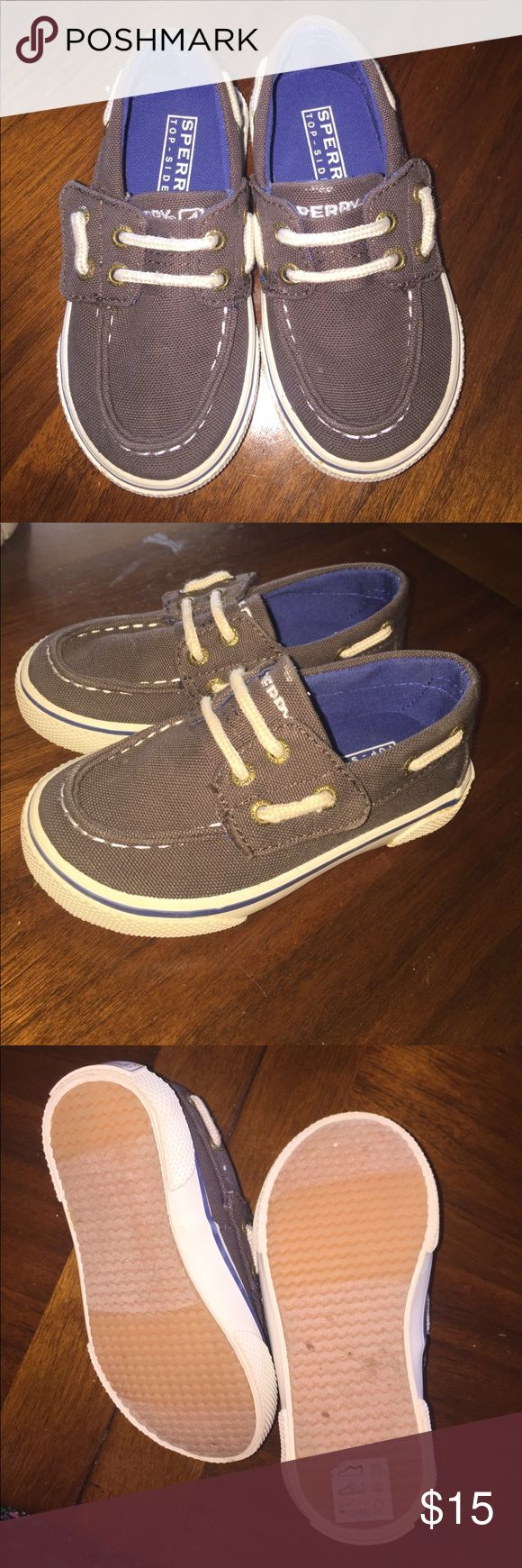 Toddler boys sperrys size 6.5 Brown cloth toddler boys sperrys size 6.5 Barely worn like new Sperry Top-Sider Shoes Dress Shoes