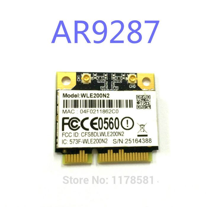 High power Compex WLE200N2 / 802.11 n/b/g 2x2 MIMO / Half-Size PCI-Express MiniCard (Qualcomm Atheros AR9287)  16dBm