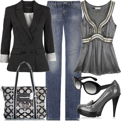 Love this look: Shoes, Date Night, Coach Pur, Casual Friday, Coach Bags, Shirts, Outfit, Jackets, Black Blazers