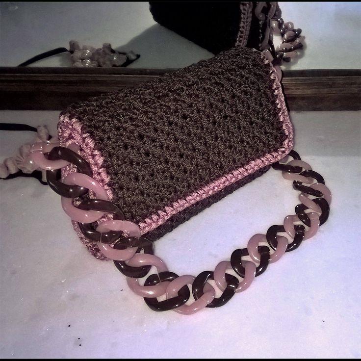 Crochet shoulderbag, Evening purses, Flap bag, Braun, Dusty pink, Fashionble, Women's gift, Knitting pattern, Baguette bag, Classy, Classic by FeMiGR on Etsy