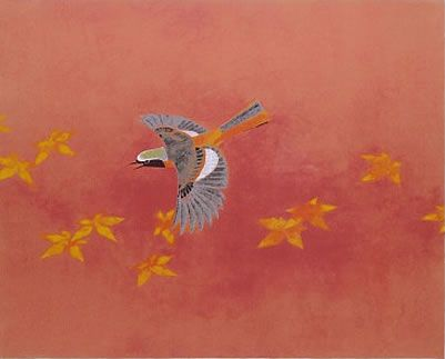 'Daurian Redstart' silkscreen by Atsushi UEMURA - Japanese Painting Gallery