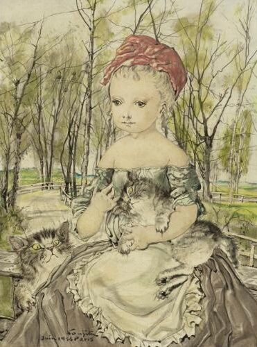 Tsuguharu Foujita (1886-1968) - Young girl with two cats, 1954