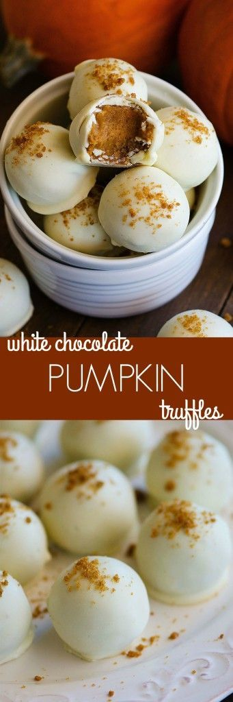 These truffles are filled with a soft pumpkin spice center and surrounded in white chocolate