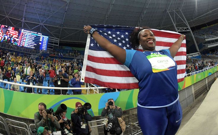 Michelle Carter (USA) celebrates winning the gold medal in the women's shot put.