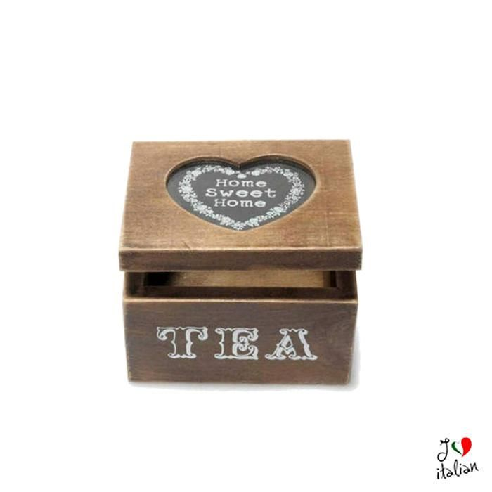 Wooden tea box with glass cover - Kitchen - €8.90