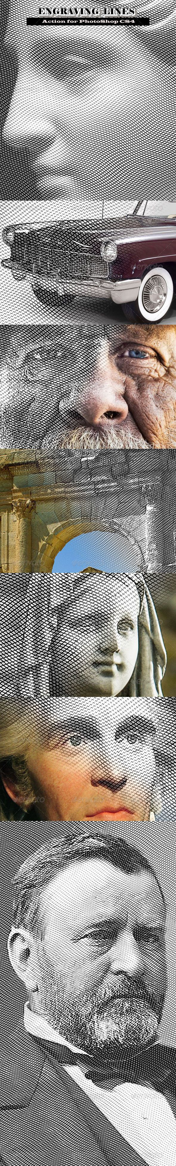 Engraving Lines #GraphicRiver Hi, dear colleagues! The Action for PhotoShop CS4 (or later): New way to convert any image into the engraving, Easily adjustment of the engrave image appearance, Please watch video to see how it works: I hope the action will be useful for you. Created: 9April13 Add-onFilesIncluded: LayeredPSD #PhotoshopATN MinimumAdobeCSVersion: CS4 Tags: blackandwhite #classic #engrave #engraving #graphic #line #portrait #retro #vintage