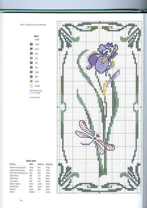 Schematic cross stitch Iris Flower